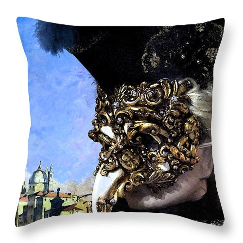 Digital Photography Throw Pillow featuring the photograph Venetian Carnival by Mindy Newman