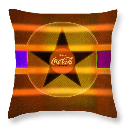 Label Throw Pillow featuring the painting Venetian Cola by Charles Stuart