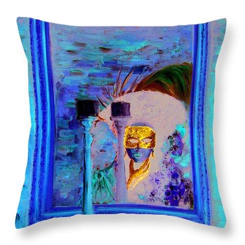 Venice Throw Pillow featuring the painting Venetian Girl Looking In Mirror by Leonardo Ruggieri