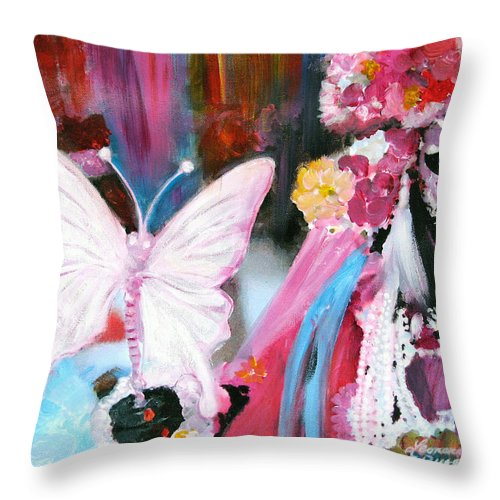 Venice Throw Pillow featuring the painting Venetian Mask With Butterfly by Leonardo Ruggieri