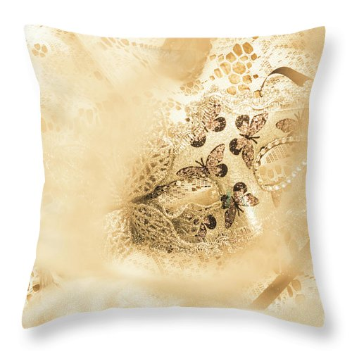 Mask Throw Pillow featuring the photograph Venetian performance of mystery by Jorgo Photography - Wall Art Gallery