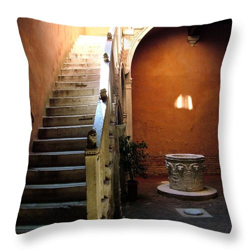 Architecture Throw Pillow featuring the photograph Venetian Stairway by Donna Corless
