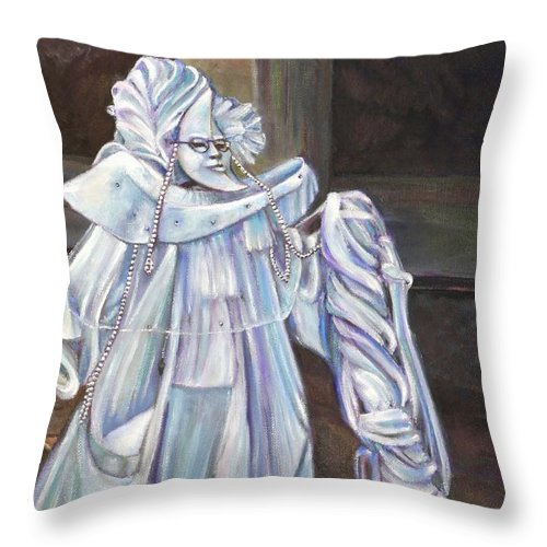 Costume Throw Pillow featuring the painting Venezia Carnivale-sold by Mirinda Reynolds