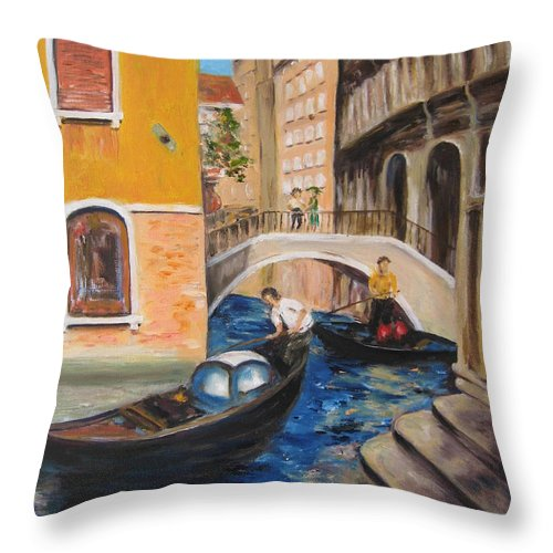 Landscape Throw Pillow featuring the painting Venice Afternoon by Lisa Boyd