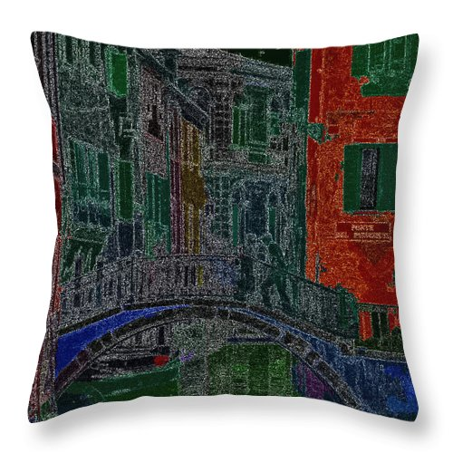 Ebsq Throw Pillow featuring the photograph Venice By Night by Dee Flouton
