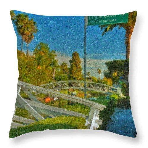 Venice Canal Bridge Signs Throw Pillow featuring the photograph Venice Canal Bridge Signs by David Zanzinger