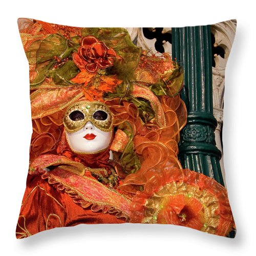 Italy Throw Pillow featuring the photograph Venice Carnival Mask Italy by Amos Gal