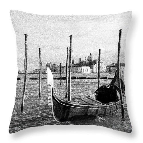 Gerlya Sunshine Throw Pillow featuring the photograph Venice. Gondola. Black And White. by Gerlya Sunshine