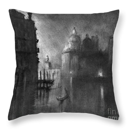 1905 Throw Pillow featuring the drawing Venice, Grand Canal, C1905. by Granger