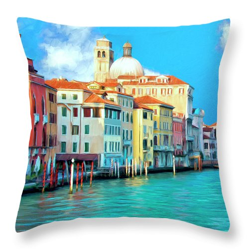 Grand Canal Throw Pillow featuring the painting Venice Grand Canal by Dominic Piperata