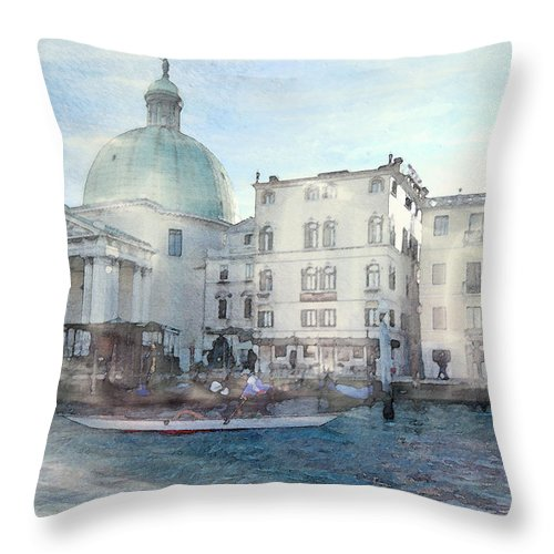 Contemporary Painting Throw Pillow featuring the painting Venice Grand Canal Watercolour by Elizabetha Fox