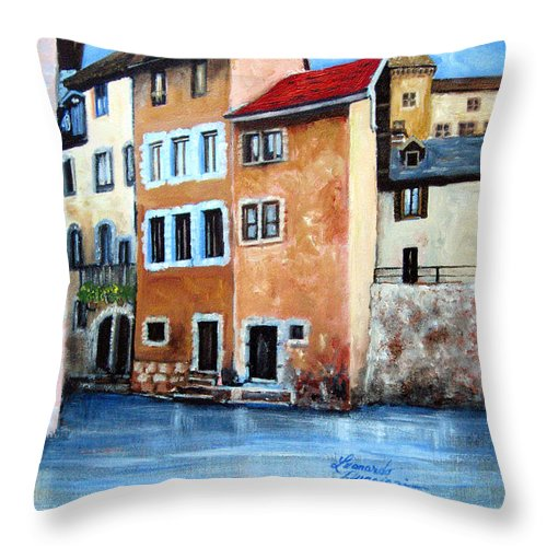 Seascape Throw Pillow featuring the painting venice II by Leonardo Ruggieri