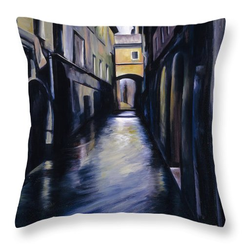 Street; Canal; Venice ; Desert; Abandoned; Delapidated; Lost; Highway; Route 66; Road; Vacancy; Run-down; Building; Old Signage; Nastalgia; Vintage; James Christopher Hill; Jameshillgallery.com; Foliage; Sky; Realism; Oils Throw Pillow featuring the painting Venice by James Christopher Hill