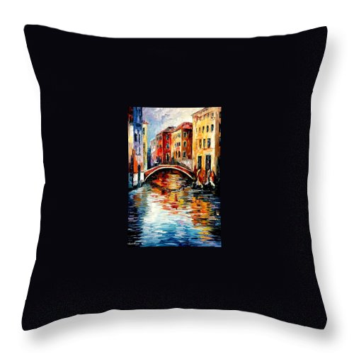 Landscape Throw Pillow featuring the painting Venice by Leonid Afremov