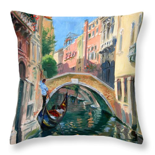 Venice Throw Pillow featuring the painting Venice Ponte Widmann by Ylli Haruni
