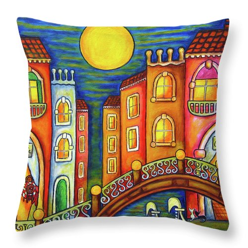Colourful Throw Pillow featuring the painting Venice Soiree by Lisa Lorenz