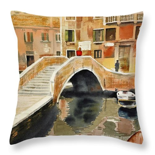 Landscape Throw Pillow featuring the painting Venizia by Madeleine Holzberg