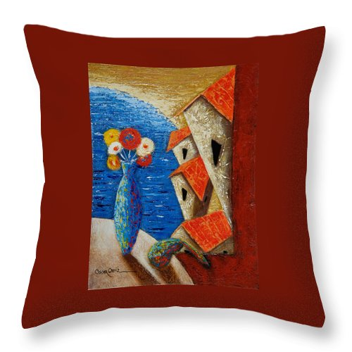 Landscape Throw Pillow featuring the painting Ventana Al Mar by Oscar Ortiz