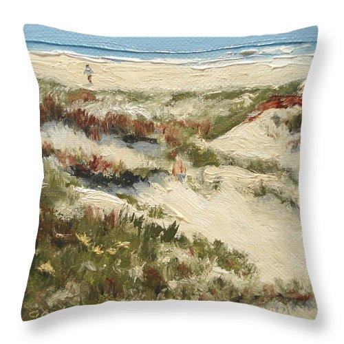 Water Throw Pillow featuring the painting Ventura Dunes II by Barbara Andolsek