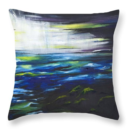 Night Throw Pillow featuring the painting Ventura Seascape At Night by Sheridan Furrer