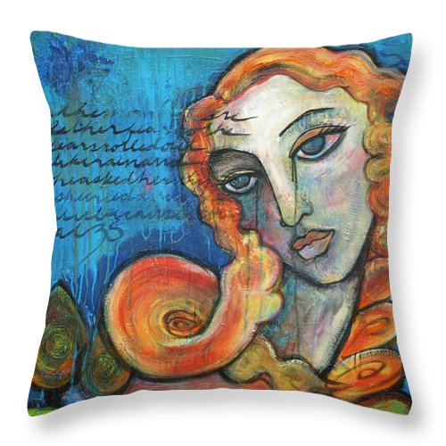 Venus Throw Pillow featuring the painting Venus Lets Go by Laurie Maves ART
