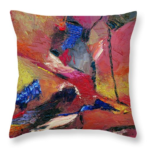Abstract Throw Pillow featuring the painting Verily Vivacious by Ruth Palmer
