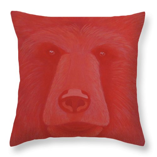 Vermillion Bear Throw Pillow