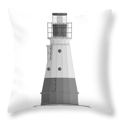 Lighthouse Throw Pillow featuring the painting Vermillion River Lighthouse Architectural Rendering by Anne Norskog