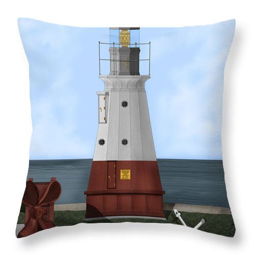 Lighthouse Throw Pillow featuring the painting Vermillion River Lighthouse On Lake Erie by Anne Norskog