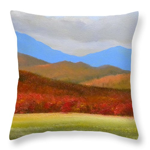 Autumn Throw Pillow featuring the painting Vermont Autumn Vista by Frank Wilson
