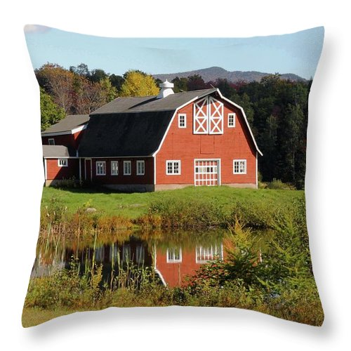 Barns Throw Pillow featuring the photograph Vermont Barn by Laurie Baird