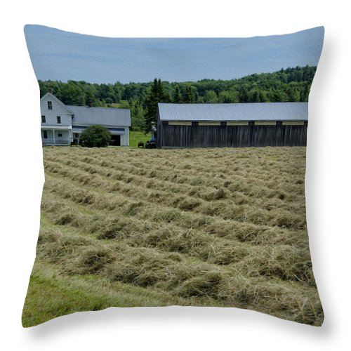 Barn Throw Pillow featuring the photograph Vermont Farmhouse With Hay by Donna Doherty