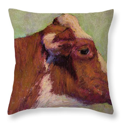Farm Animals Throw Pillow featuring the painting Vermont Red And White by Susan Williamson