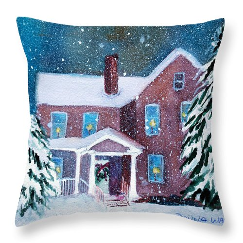 Winter Throw Pillow featuring the painting Vermont Studio Center In Winter by Donna Walsh