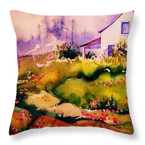 Cottagescenes Throw Pillow featuring the painting Vermont Summers by Carole Spandau