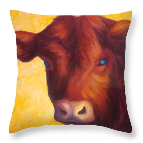 Bull Throw Pillow featuring the painting Vern by Shannon Grissom