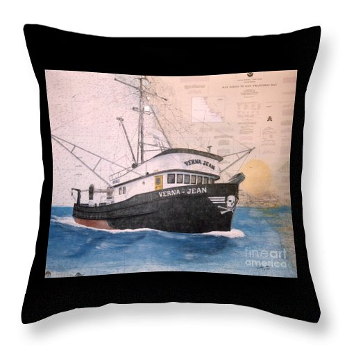 Verna Throw Pillow featuring the painting Verna Jean Fishing Boat Nautical Chart Map by Cathy Peek