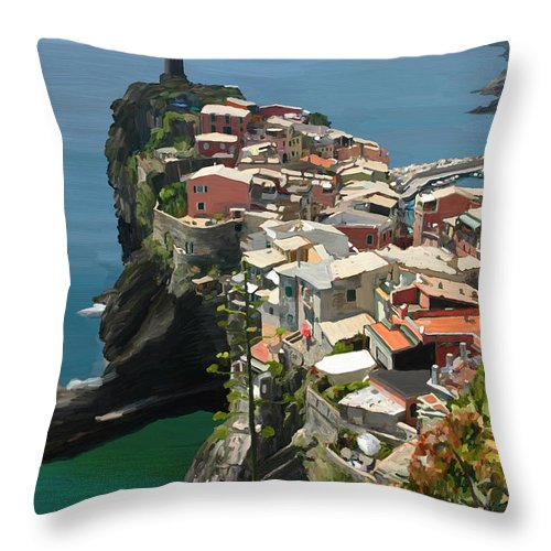 Vernazza Throw Pillow featuring the painting Vernazza Italy by DW Singleton