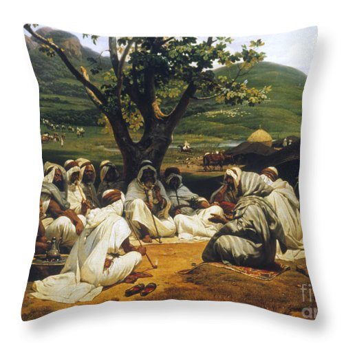 1833 Throw Pillow featuring the photograph Vernet: Arab Tale-teller by Granger