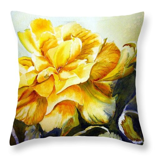 Yellow Rose Throw Pillow featuring the painting Vernon's Rose by Marilyn Bishop