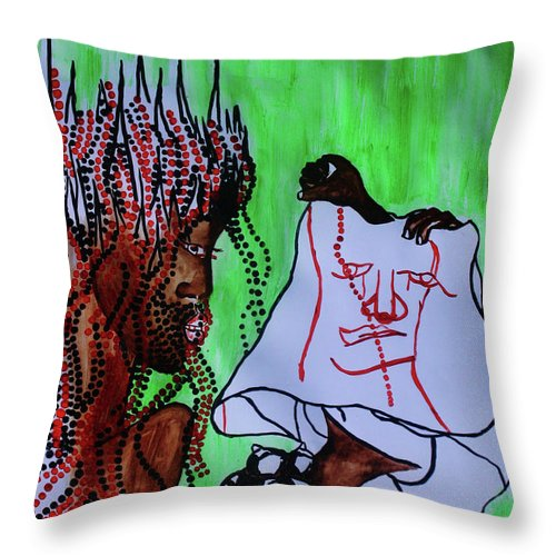 Jesus Throw Pillow featuring the painting Veronica Wipes The Face Of Jesus by Gloria Ssali