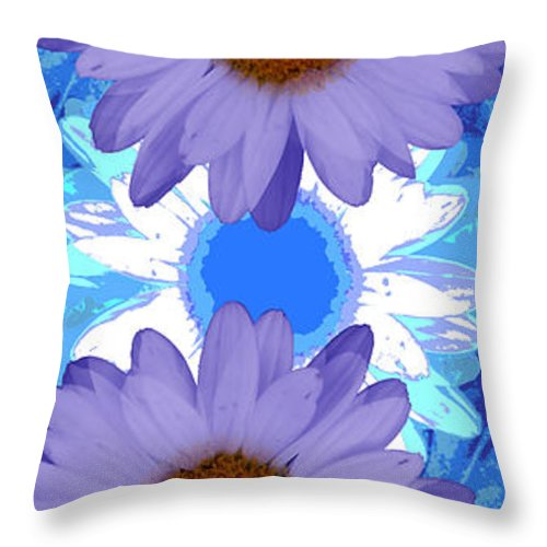 ruth Palmer Art Throw Pillow featuring the digital art Vertical Daisy Collage by Ruth Palmer