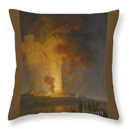 Vesuvius Erupting At Night With Spectators In The Foreground Throw Pillow featuring the painting Vesuvius Erupting At Night With Spectators In The Foreground by MotionAge Designs