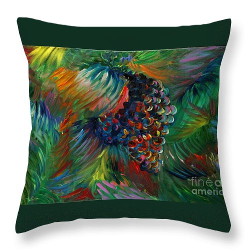 Grapes Throw Pillow featuring the painting Vibrant Grapes by Nadine Rippelmeyer