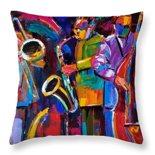 Jazz Throw Pillow featuring the painting Vibrant Jazz by Debra Hurd
