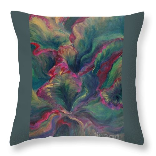 Leaves Throw Pillow featuring the painting Vibrant Leaves by Nadine Rippelmeyer