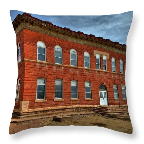 School Throw Pillow featuring the photograph Victor High School by Tony Baca