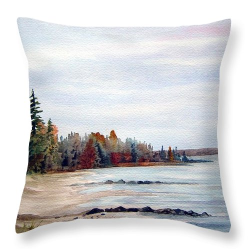 Victoria Beach Manitoba Shoreline Throw Pillow featuring the painting Victoria Beach In Manitoba by Joanne Smoley