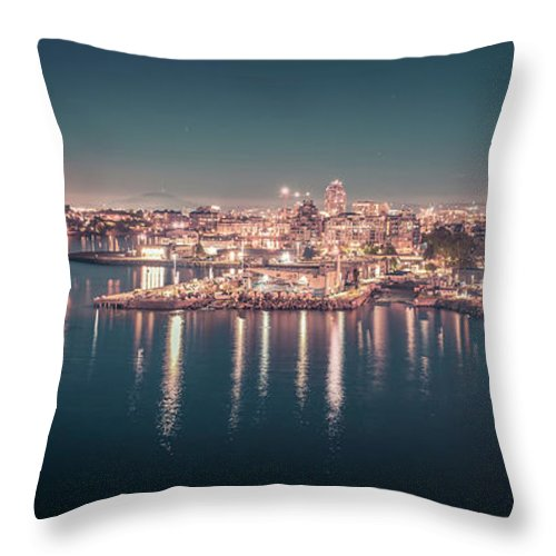 Victoria Bc Throw Pillow featuring the photograph Victoria British Columbia City Lights View From Cruise Ship by Alex Grichenko