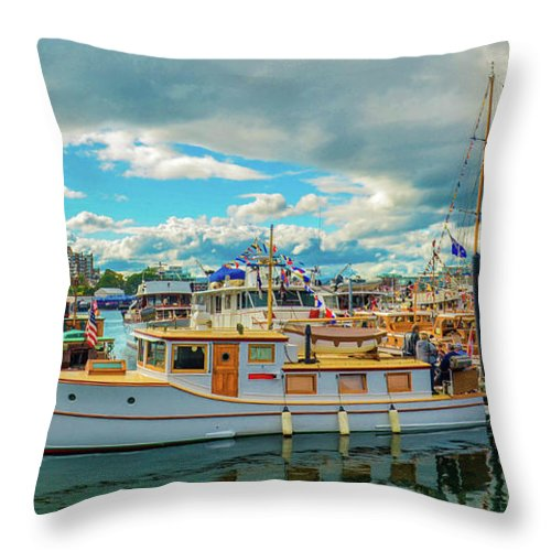 Boats Throw Pillow featuring the photograph Victoria Harbor old boats by Jason Brooks